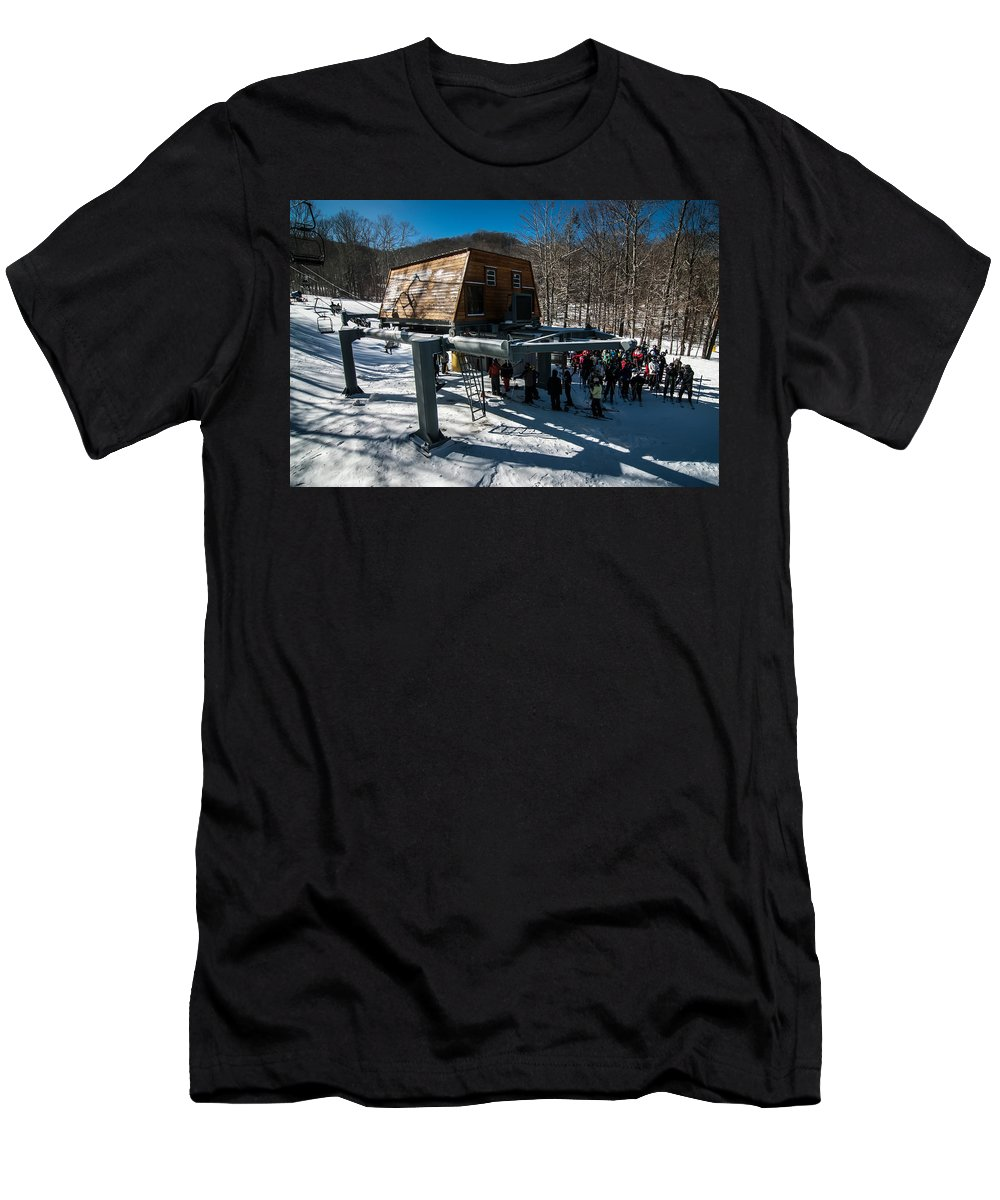 People Men's T-Shirt (Athletic Fit) featuring the photograph At The Ski Resort by Alex Grichenko