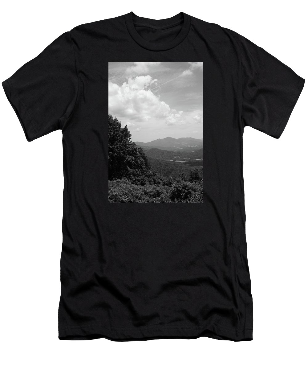 America Men's T-Shirt (Athletic Fit) featuring the photograph Blue Ridge Mountains - Virginia Bw 3 by Frank Romeo