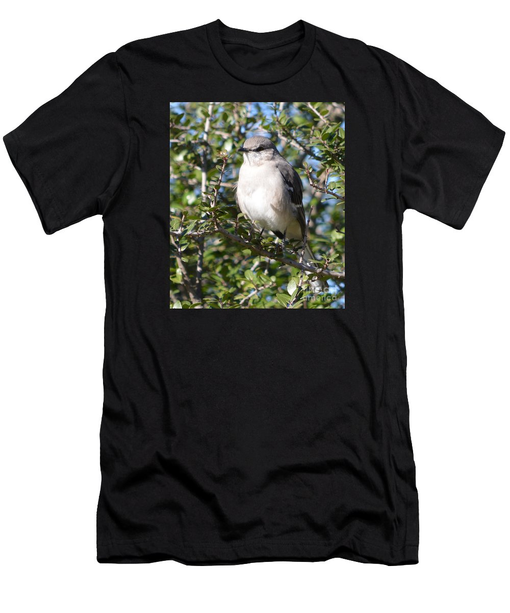 Northern Mockingbird Prints Men's T-Shirt (Athletic Fit) featuring the photograph Northern Mockingbird by Ruth Housley