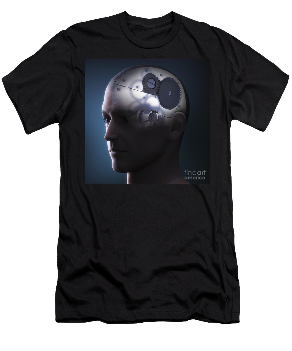 3d Visualisation Men's T-Shirt (Athletic Fit) featuring the photograph Thought Mechanism by Science Picture Co