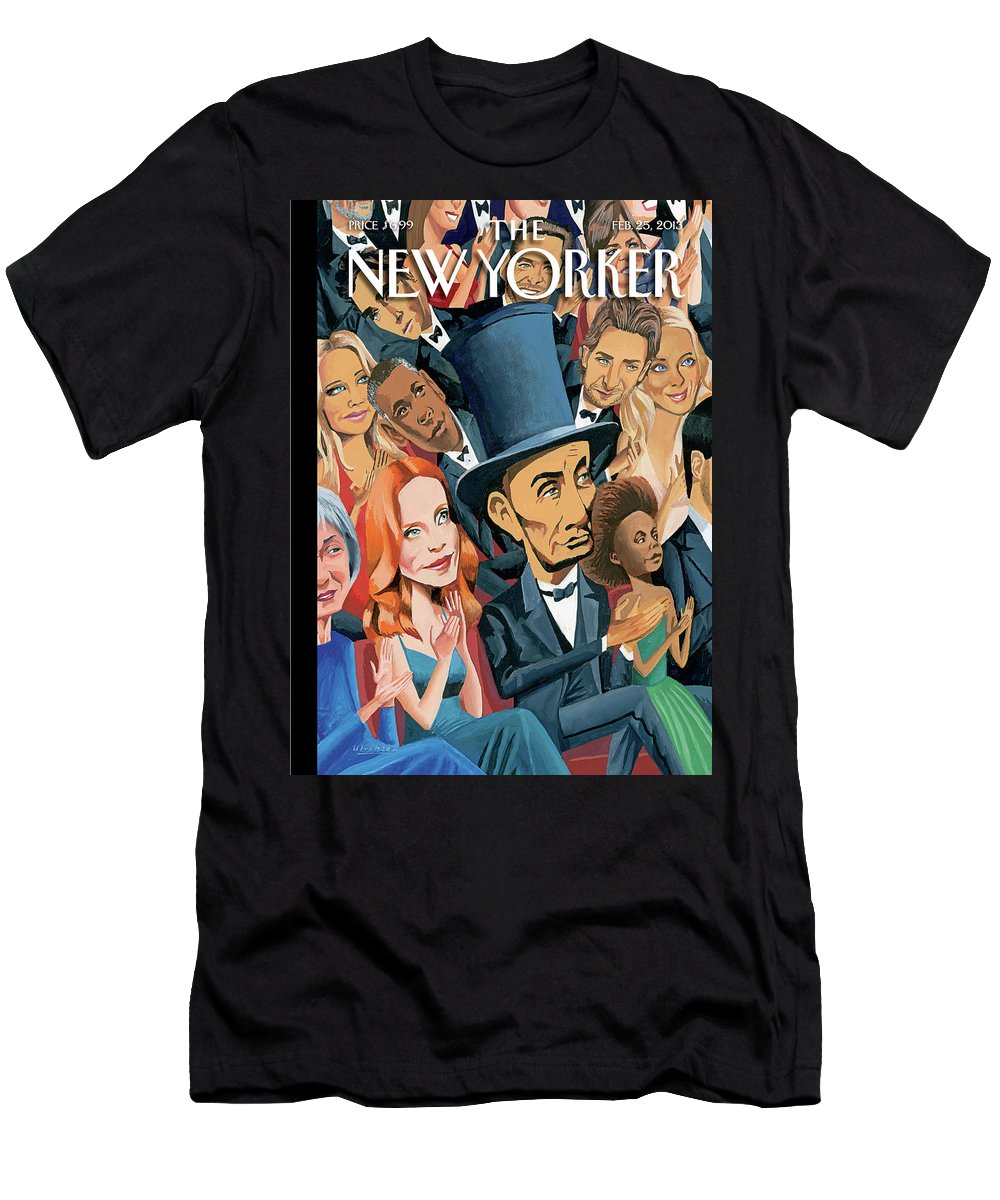 Oscars T-Shirt featuring the painting New Yorker February 25th, 2013 by Mark Ulriksen