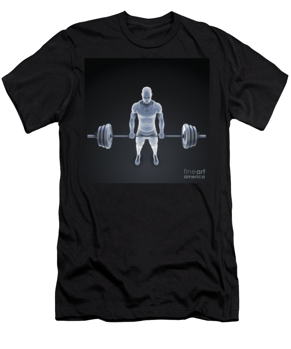 Biomedical Illustration Men's T-Shirt (Athletic Fit) featuring the photograph Exercise Workout by Science Picture Co