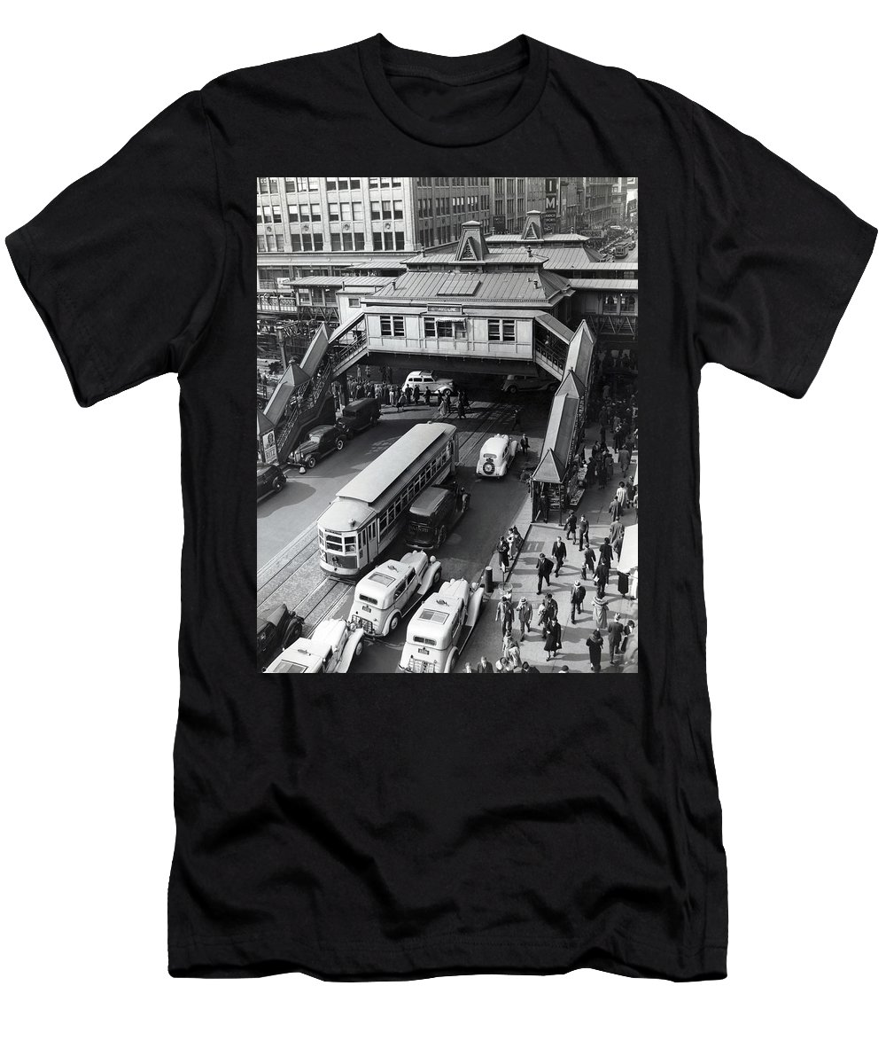 1930s Men's T-Shirt (Athletic Fit) featuring the photograph 6th Avenue And 42nd Street by Underwood Archives