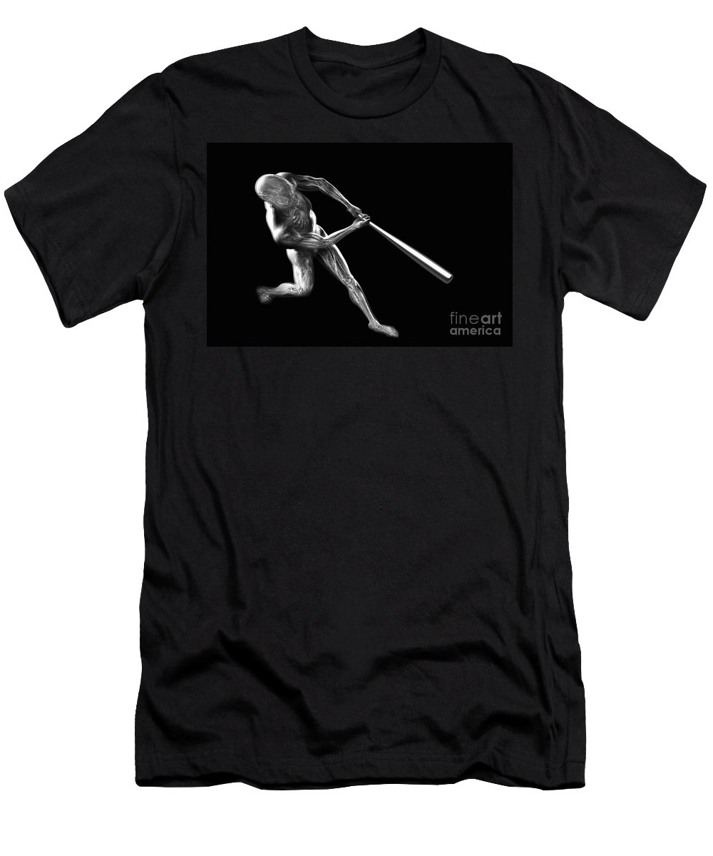 3d Visualisation Men's T-Shirt (Athletic Fit) featuring the photograph Baseball Swing by Science Picture Co
