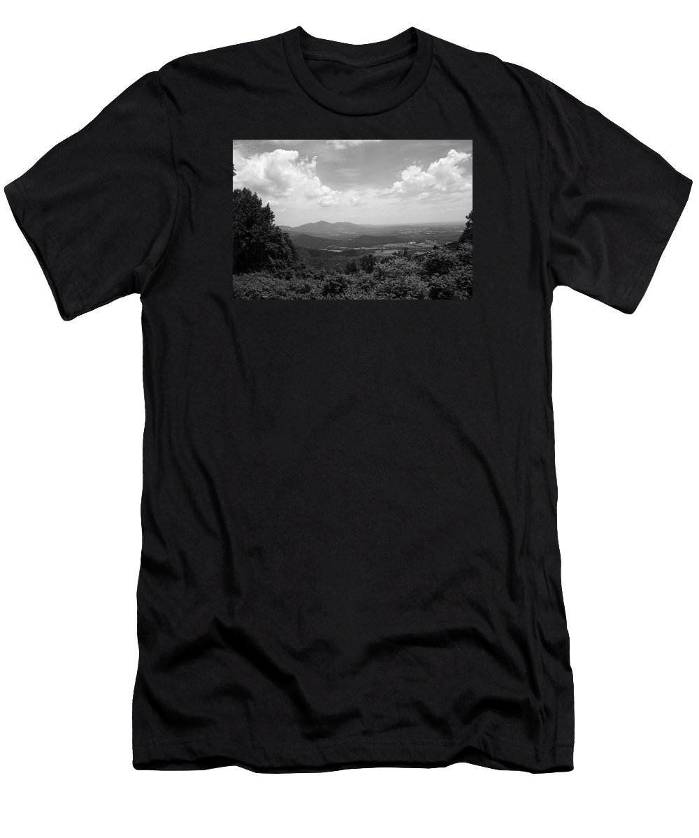 America Men's T-Shirt (Athletic Fit) featuring the photograph Blue Ridge Mountains - Virginia Bw 2 by Frank Romeo