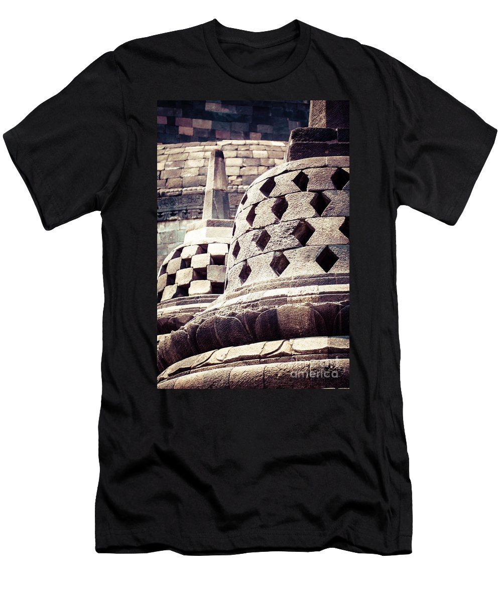 Jakarta Men's T-Shirt (Athletic Fit) featuring the photograph Borobudur Temple by Mariusz Prusaczyk