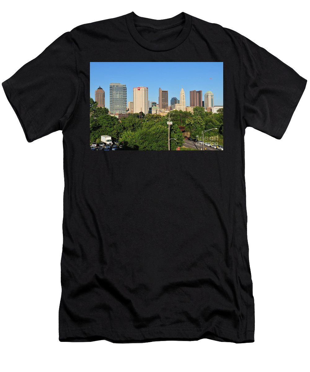 Columbus Men's T-Shirt (Athletic Fit) featuring the photograph Columbus Ohio Skyline Photo by Ohio Stock Photography
