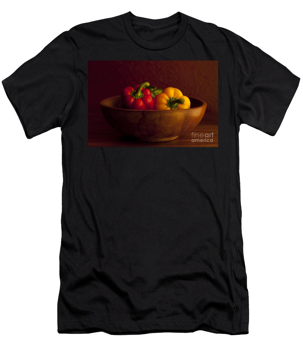 Arrangement Men's T-Shirt (Athletic Fit) featuring the photograph Peppers Still Life Close-up by Jim Corwin