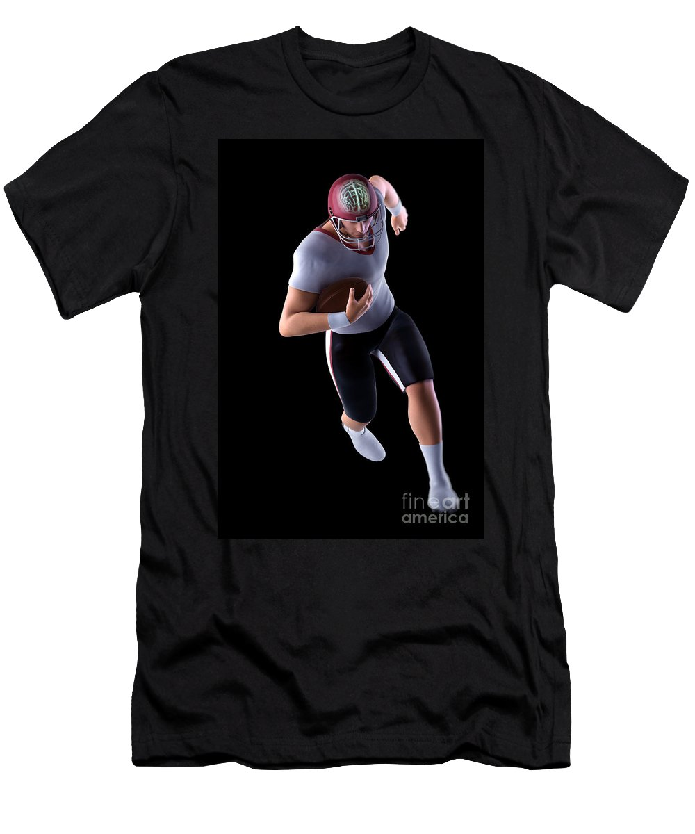 Injure Men's T-Shirt (Athletic Fit) featuring the photograph American Football Player by Science Picture Co