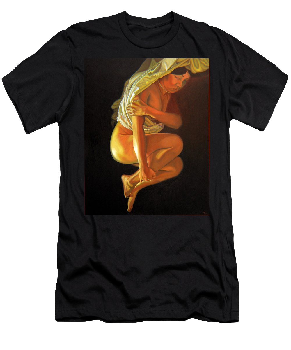 Oil_painting Men's T-Shirt (Athletic Fit) featuring the painting 9 30 Am by Thu Nguyen