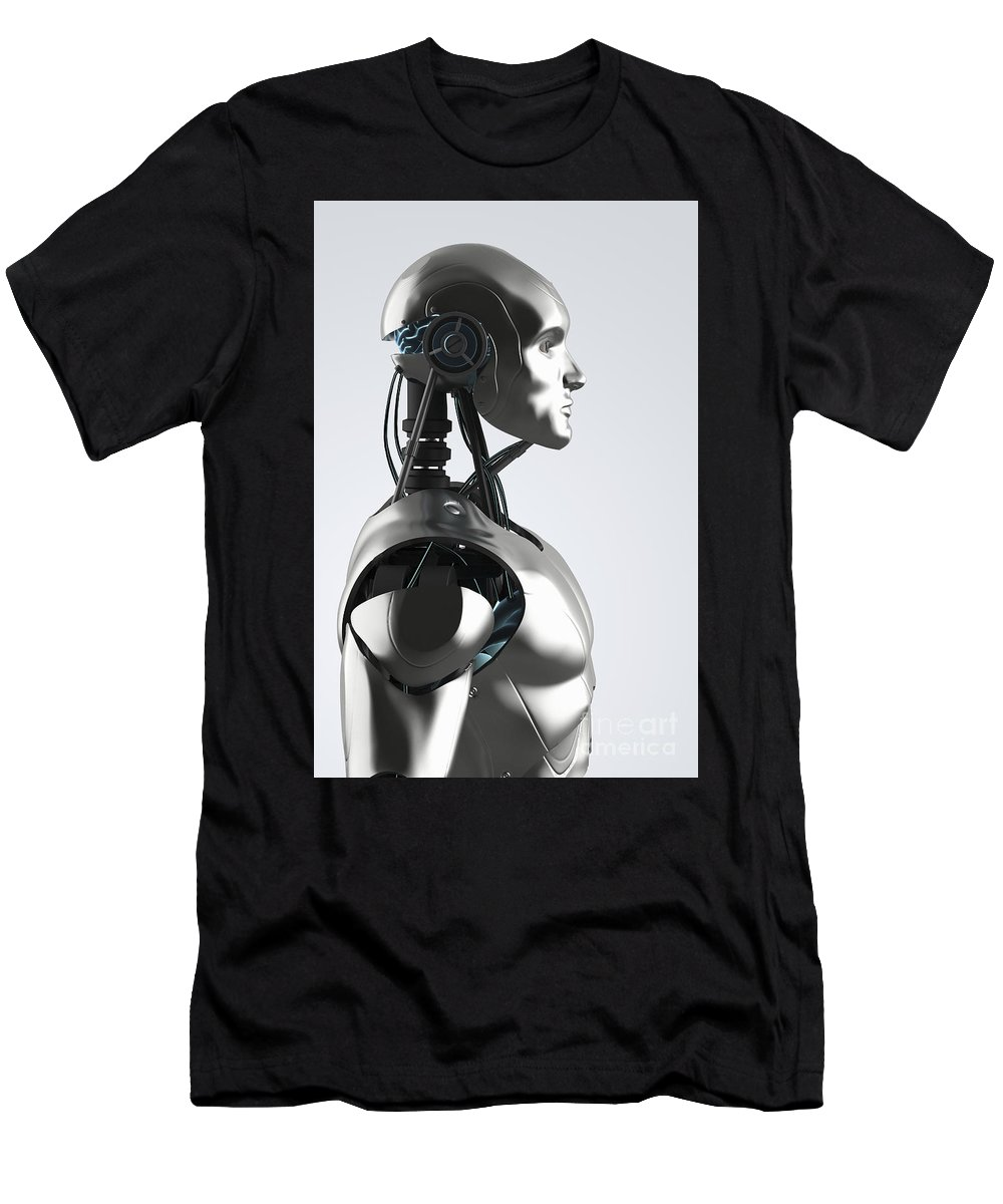 Digital Human Men's T-Shirt (Athletic Fit) featuring the photograph Android by Science Picture Co
