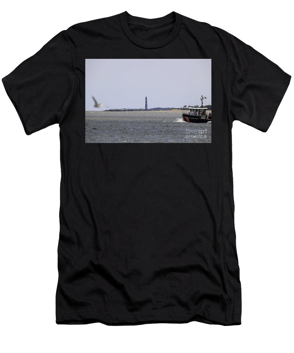 Morris Island Lighthouse Men's T-Shirt (Athletic Fit) featuring the photograph Coast Guard by Dale Powell