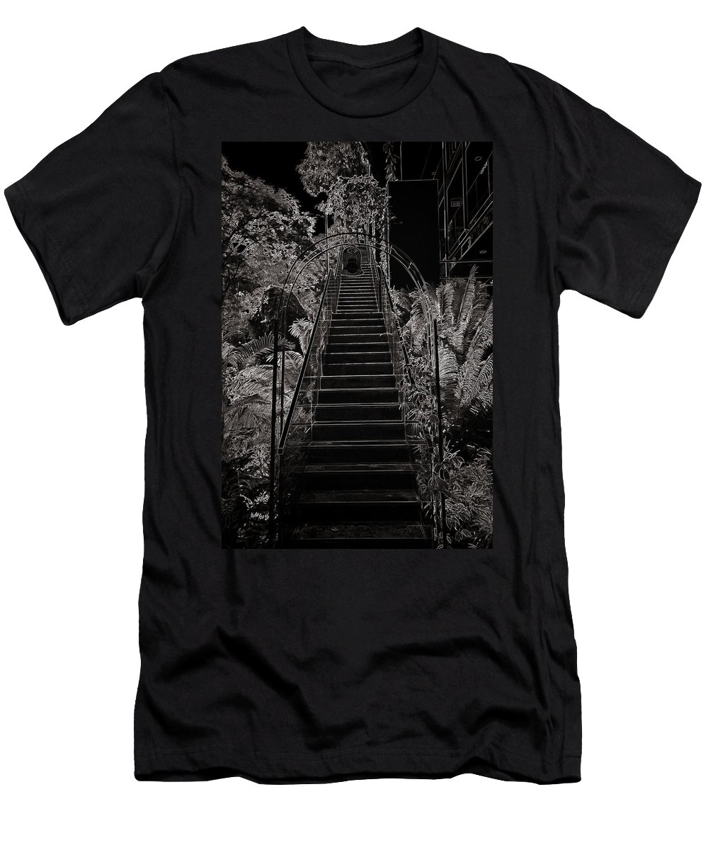Asia Men's T-Shirt (Athletic Fit) featuring the photograph Staircase Leading To A Higher Level In Siloso Hotel In Sentosa by Ashish Agarwal