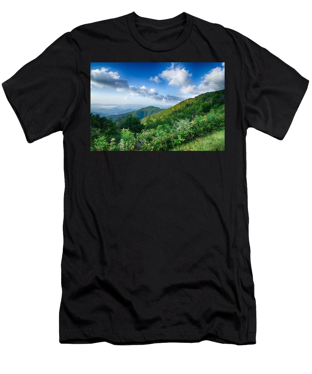 Mountains Men's T-Shirt (Athletic Fit) featuring the photograph Sunrise Over Blue Ridge Mountains Scenic Overlook by Alex Grichenko