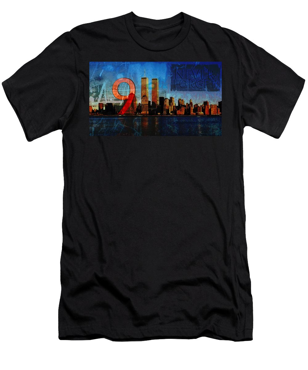9-11 T-Shirt featuring the photograph 911 Never Forget by Anita Burgermeister