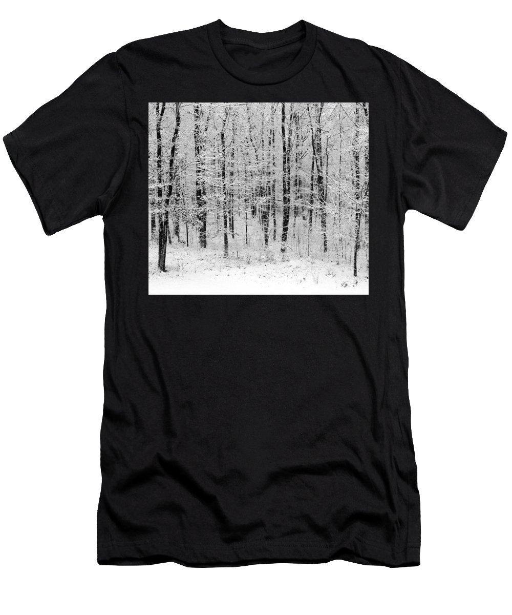 Landscape - B&w Fresh Blanket Of Snow Resting In The Woods - Gives Tranquility To Your Home And Office Men's T-Shirt (Athletic Fit) featuring the photograph Virgin Snow by Ursula Coccomo