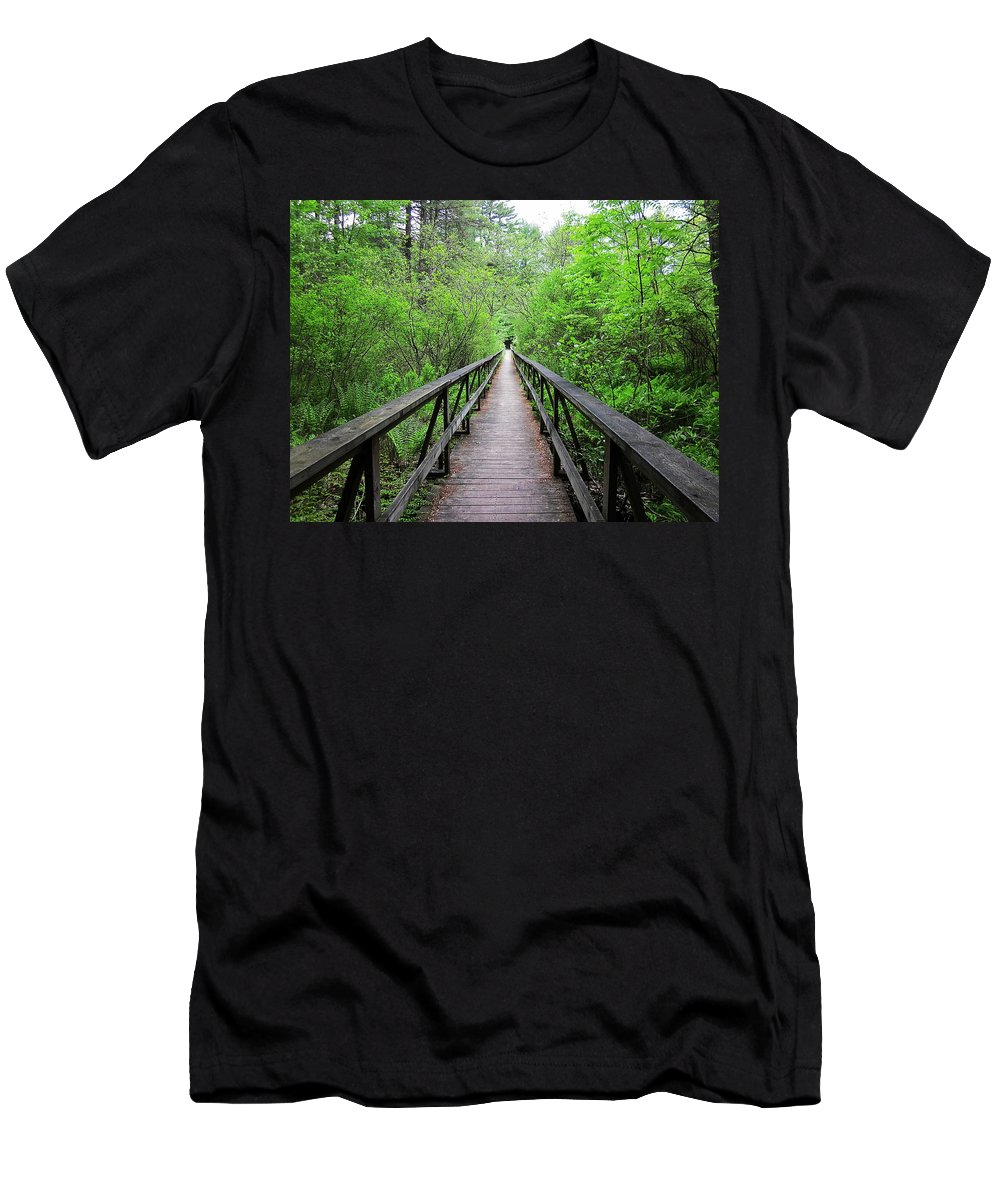 Bridge Men's T-Shirt (Athletic Fit) featuring the photograph A Bridge To Somewhere by MTBobbins Photography
