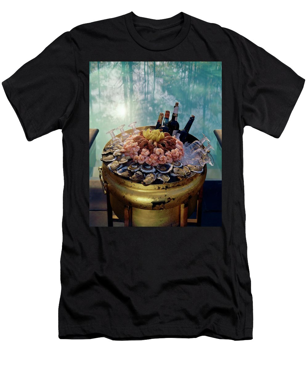 Nobody Men's T-Shirt (Athletic Fit) featuring the photograph A Bucket Of Shrimp by Ernst Beadle