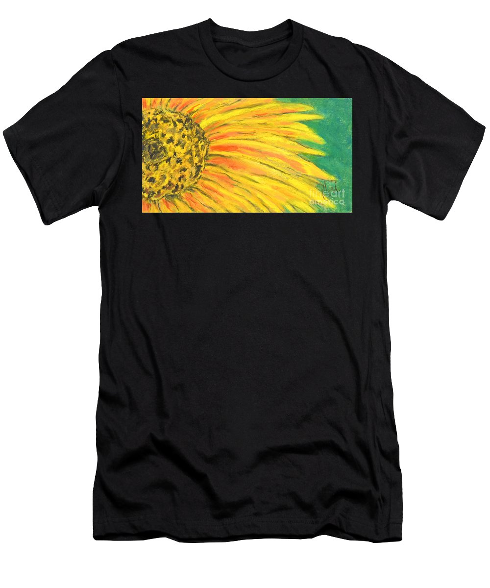 Flower Men's T-Shirt (Athletic Fit) featuring the drawing A Burst Of Yellow by Cori Solomon