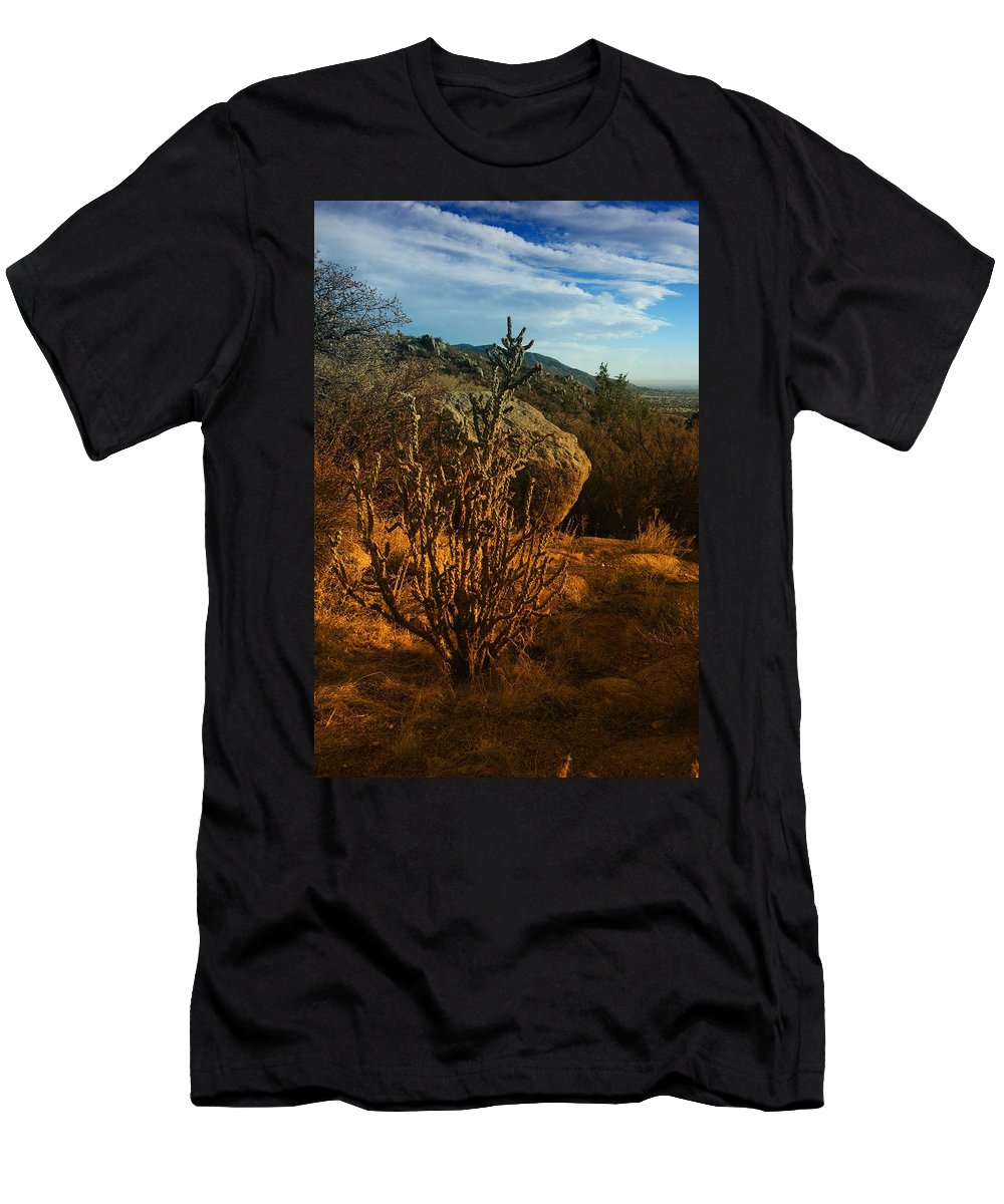 Cactus Men's T-Shirt (Athletic Fit) featuring the photograph A Cactus In The Sandia Mountains by Jeff Swan