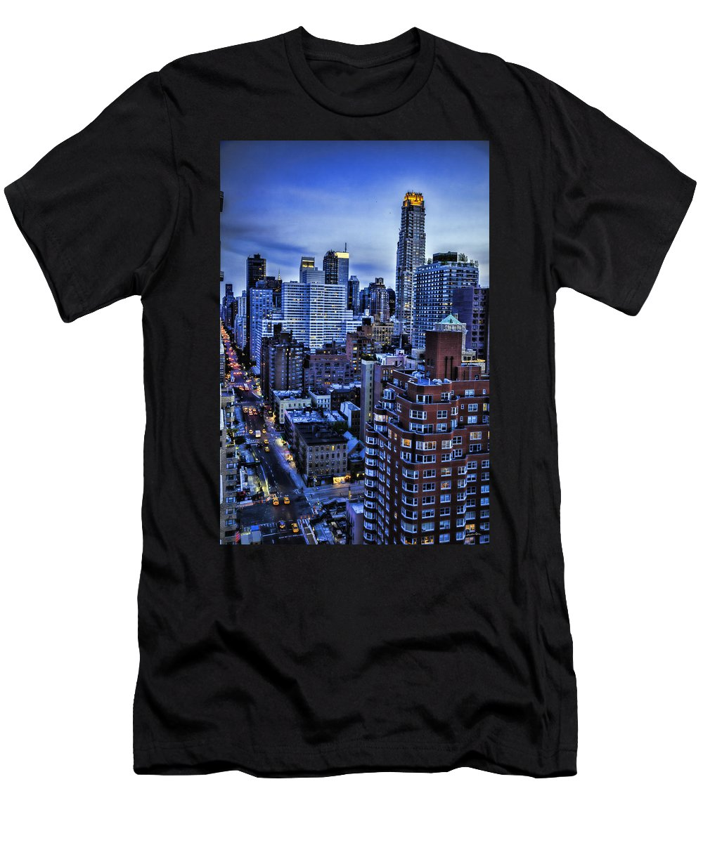 Night Men's T-Shirt (Athletic Fit) featuring the photograph A City That Never Sleeps by Madeline Ellis