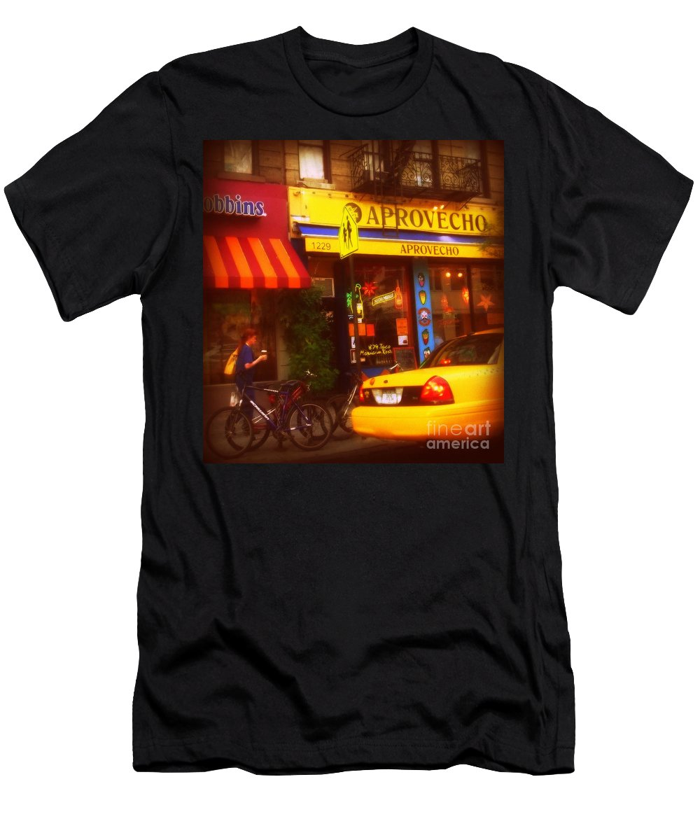 Taxi Men's T-Shirt (Athletic Fit) featuring the photograph A Coffee On The Way Home by Miriam Danar