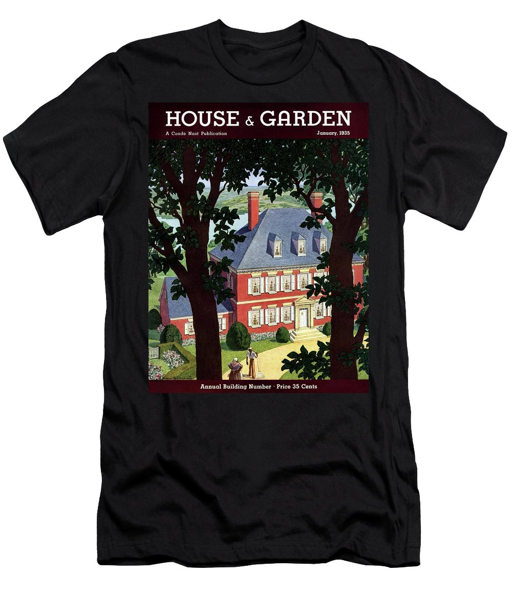 House And Garden Men's T-Shirt (Athletic Fit) featuring the photograph A Colonial Manor House by Pierre Brissaud