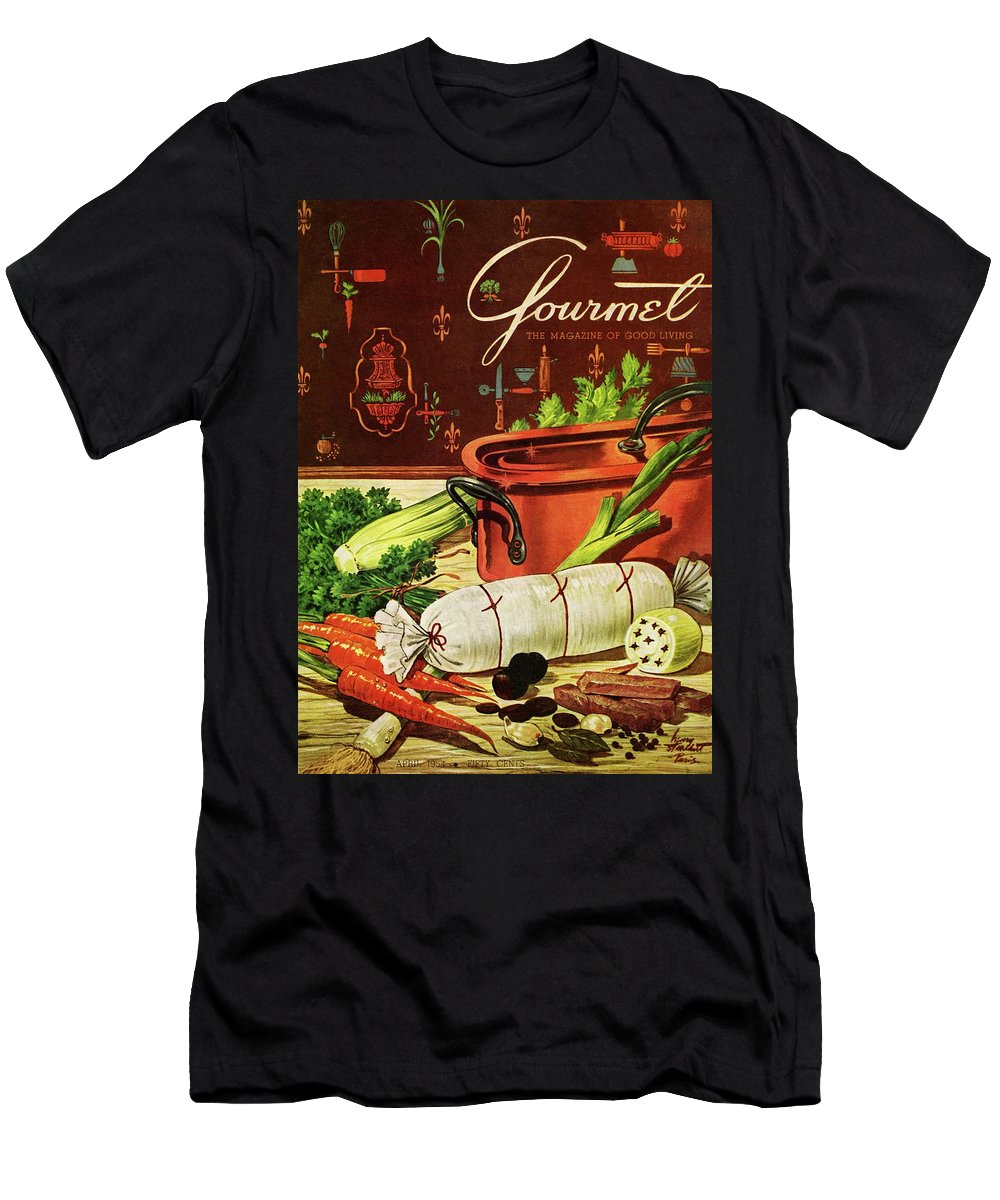 Food Men's T-Shirt (Athletic Fit) featuring the photograph A Copper Pot And Ingredients Of Ballontine De by Henry Stahlhut