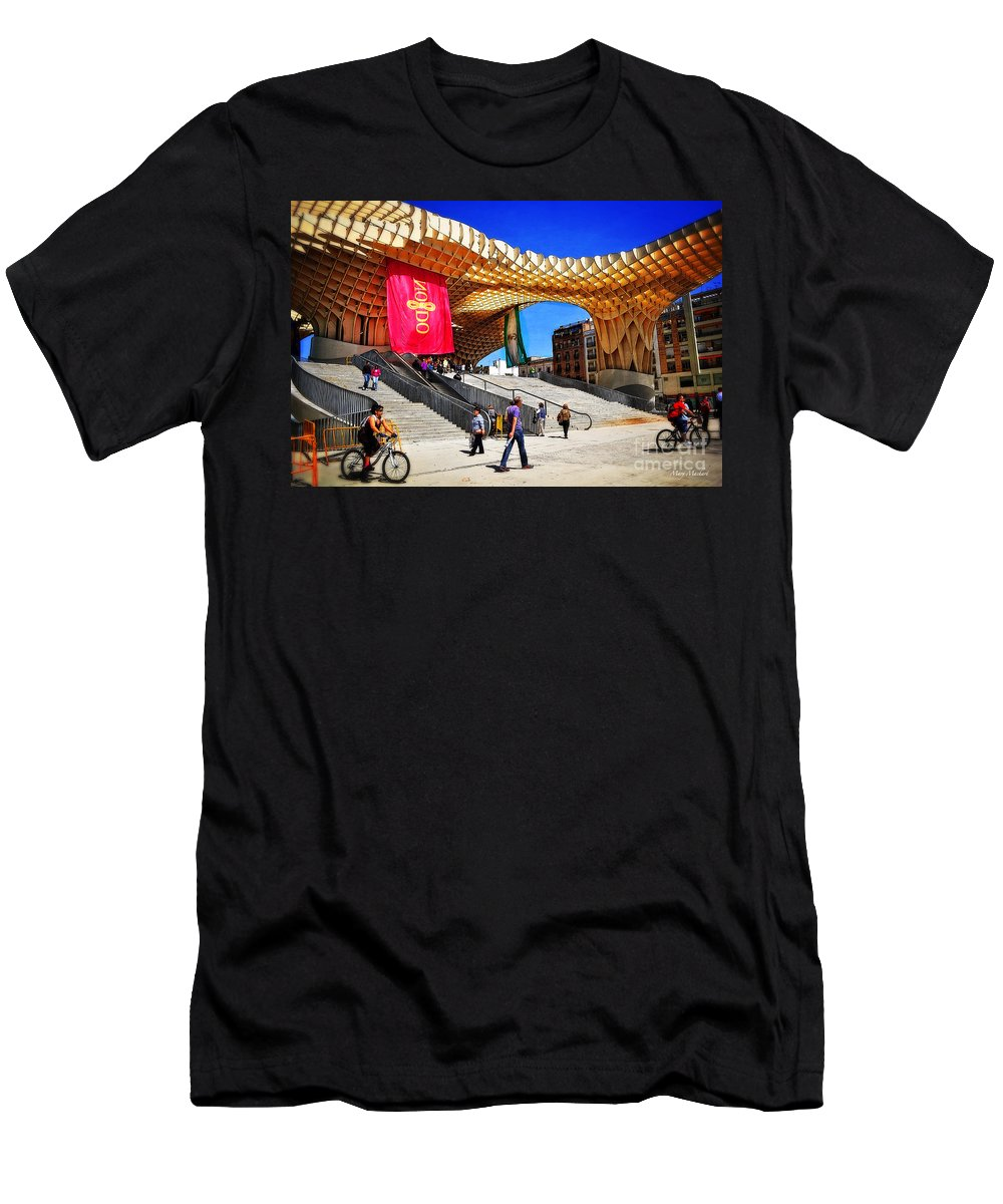 Men's T-Shirt (Athletic Fit) featuring the photograph A Day At The Parasol Metropol by Mary Machare