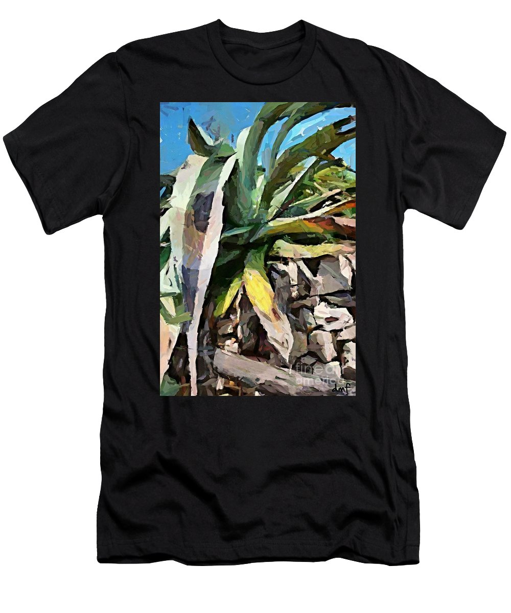 Weathering Agava Men's T-Shirt (Athletic Fit) featuring the painting A Dry Agava by Dragica Micki Fortuna
