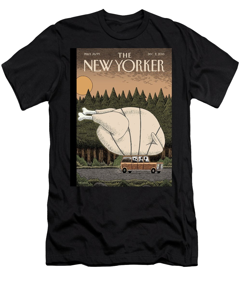 Thanksgiving Men's T-Shirt (Athletic Fit) featuring the painting A Family Rides Home With A Giant Turkey Tied by Tom Gauld