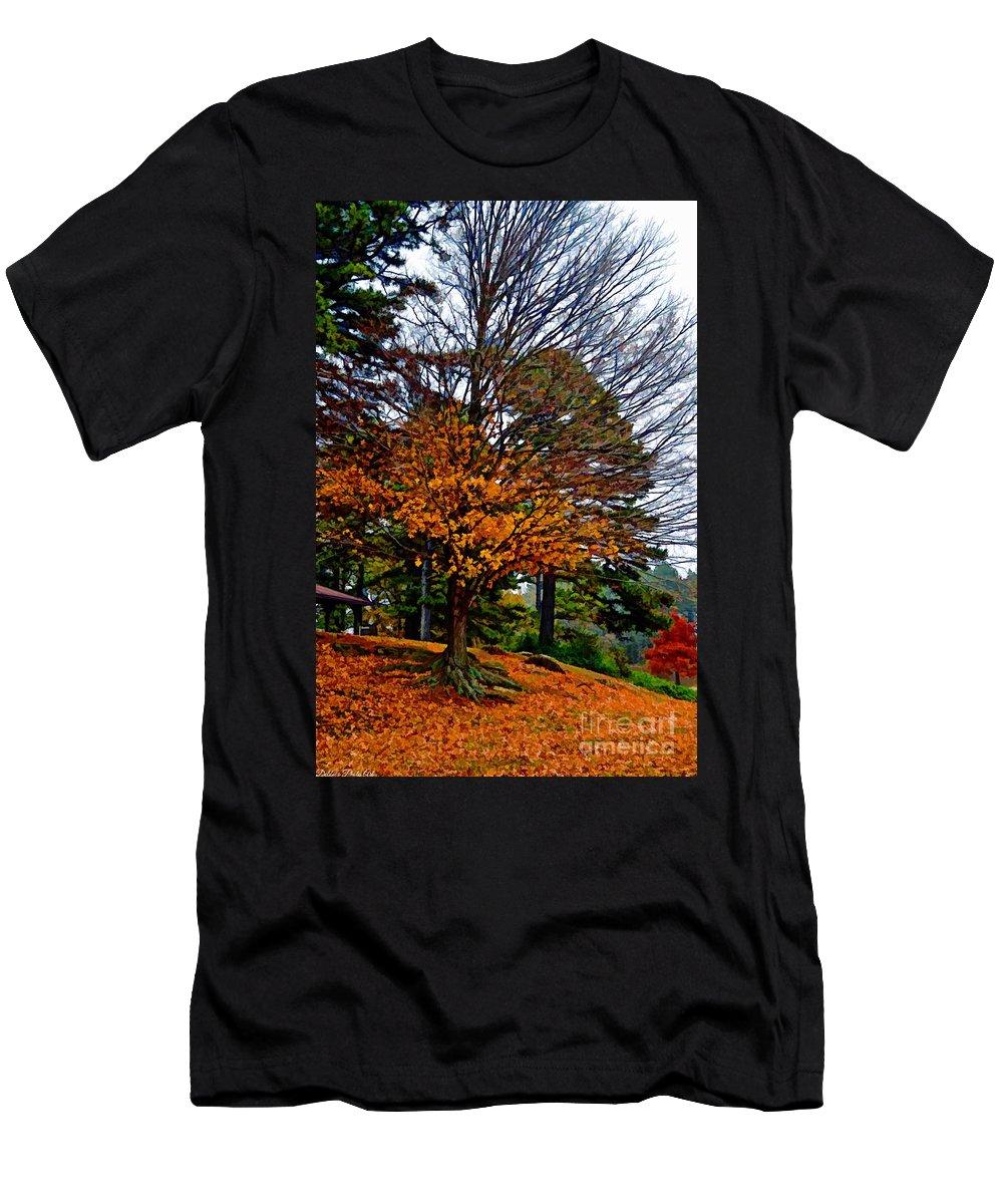 Autumn Men's T-Shirt (Athletic Fit) featuring the photograph A Few Gold Left - Digital Paint by Debbie Portwood