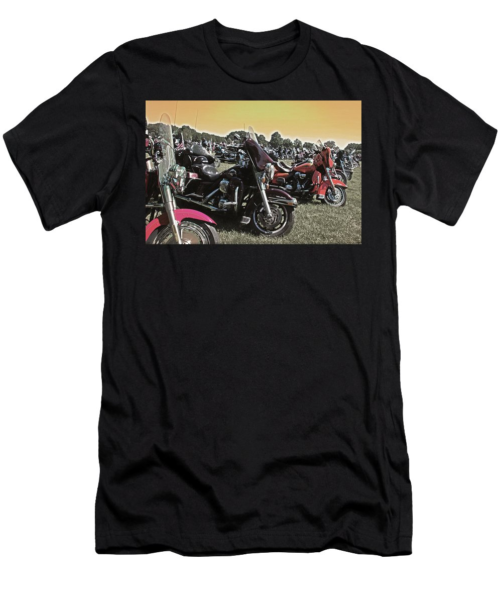 Hogmotorcycle Men's T-Shirt (Athletic Fit) featuring the photograph A Few Hogs In The Sun by Tom Gari Gallery-Three-Photography