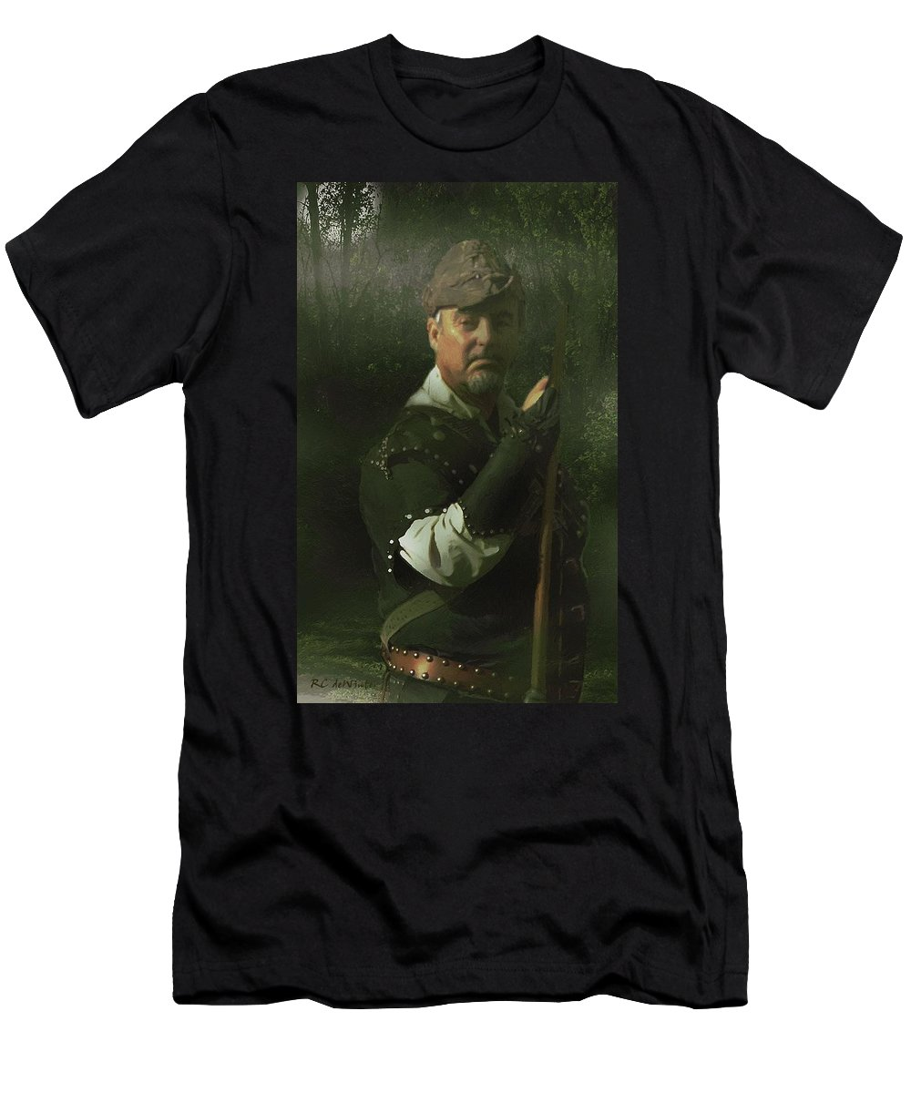 Portrait Men's T-Shirt (Athletic Fit) featuring the painting A Foggy Night In Sherwood by RC DeWinter