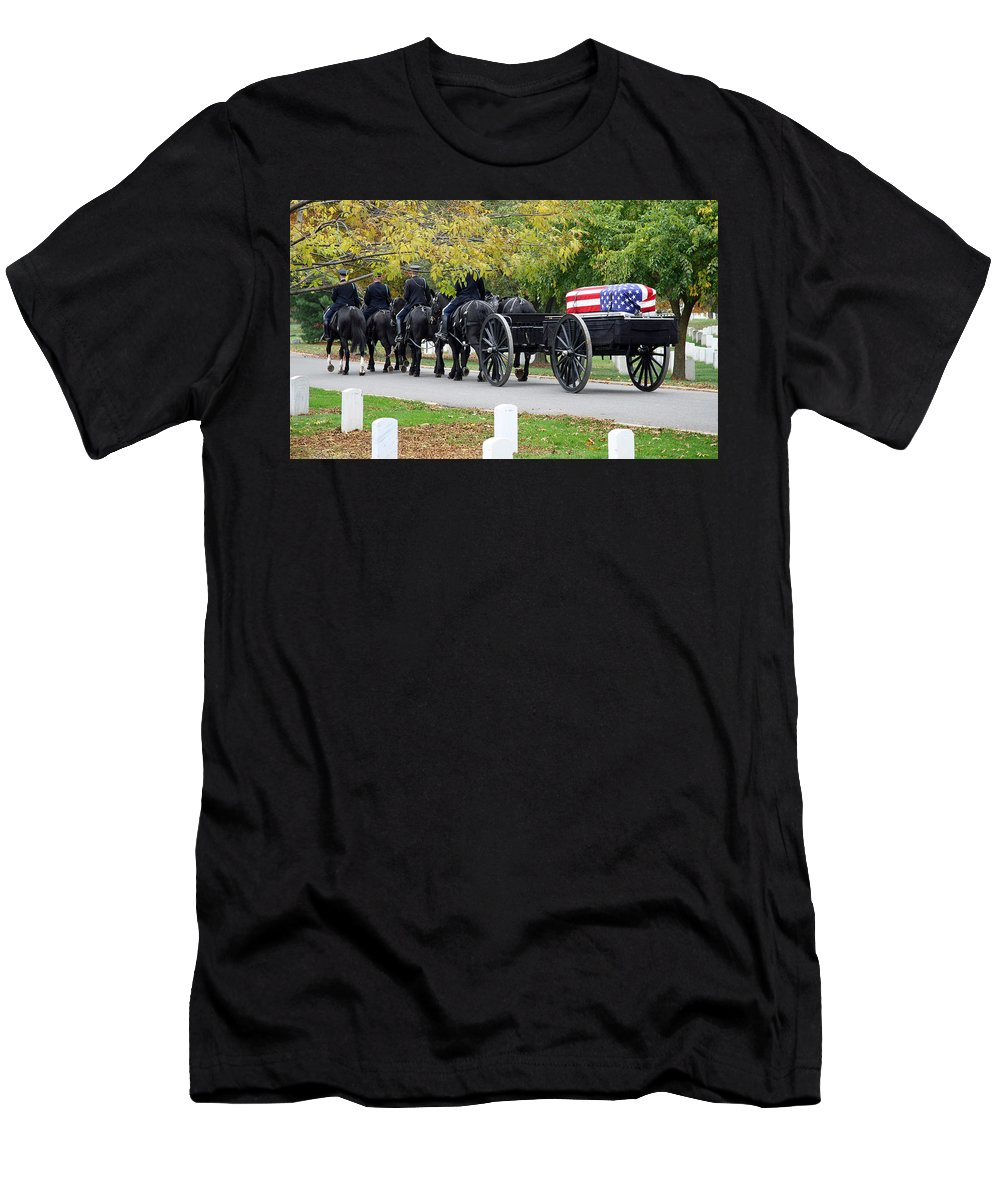 Arlington National Cemetery Men's T-Shirt (Athletic Fit) featuring the photograph A Funeral In Arlington by Cora Wandel