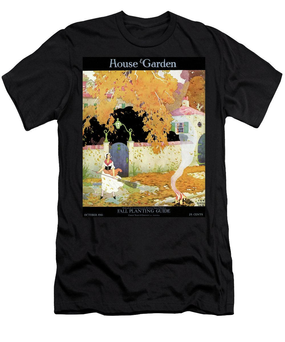 House And Garden T-Shirt featuring the photograph A Girl Sweeping Leaves by The Reeses