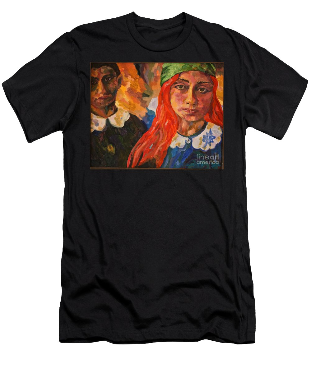 Original Oil On Canvas Men's T-Shirt (Athletic Fit) featuring the painting A Girl's View Of War 2 by Michael Cinnamond