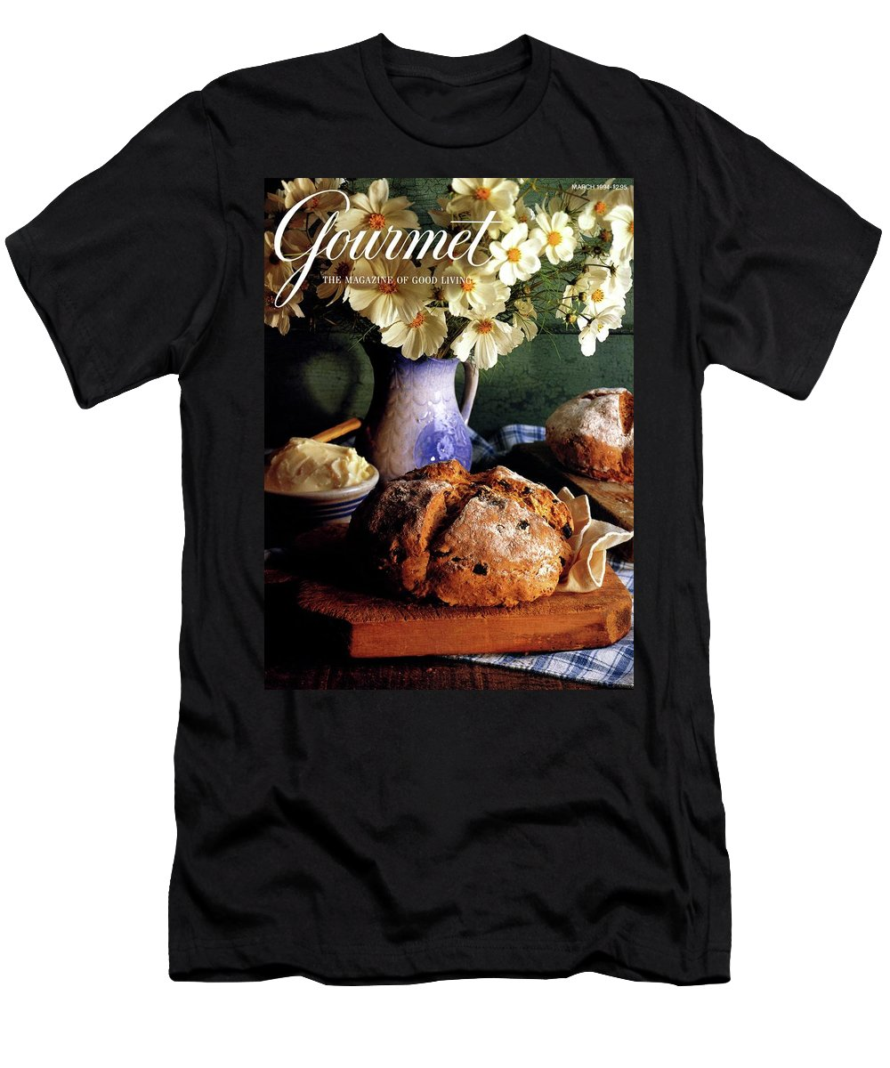 Food T-Shirt featuring the photograph A Gourmet Cover Of Bread And Flowers by Romulo Yanes