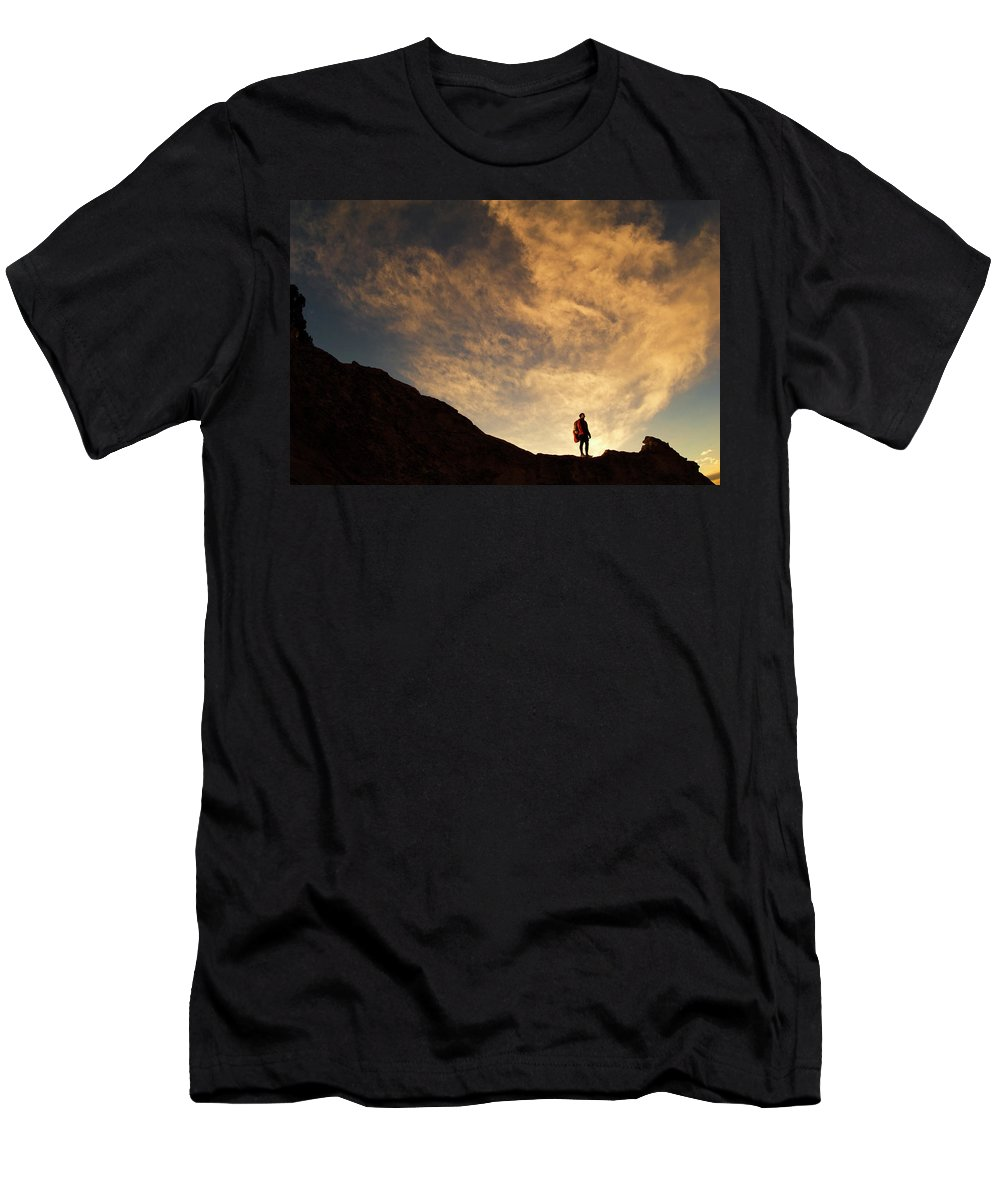 Backpack Men's T-Shirt (Athletic Fit) featuring the photograph A Hiker Standing On A Ridge At Sun Rise by Keith Ladzinski