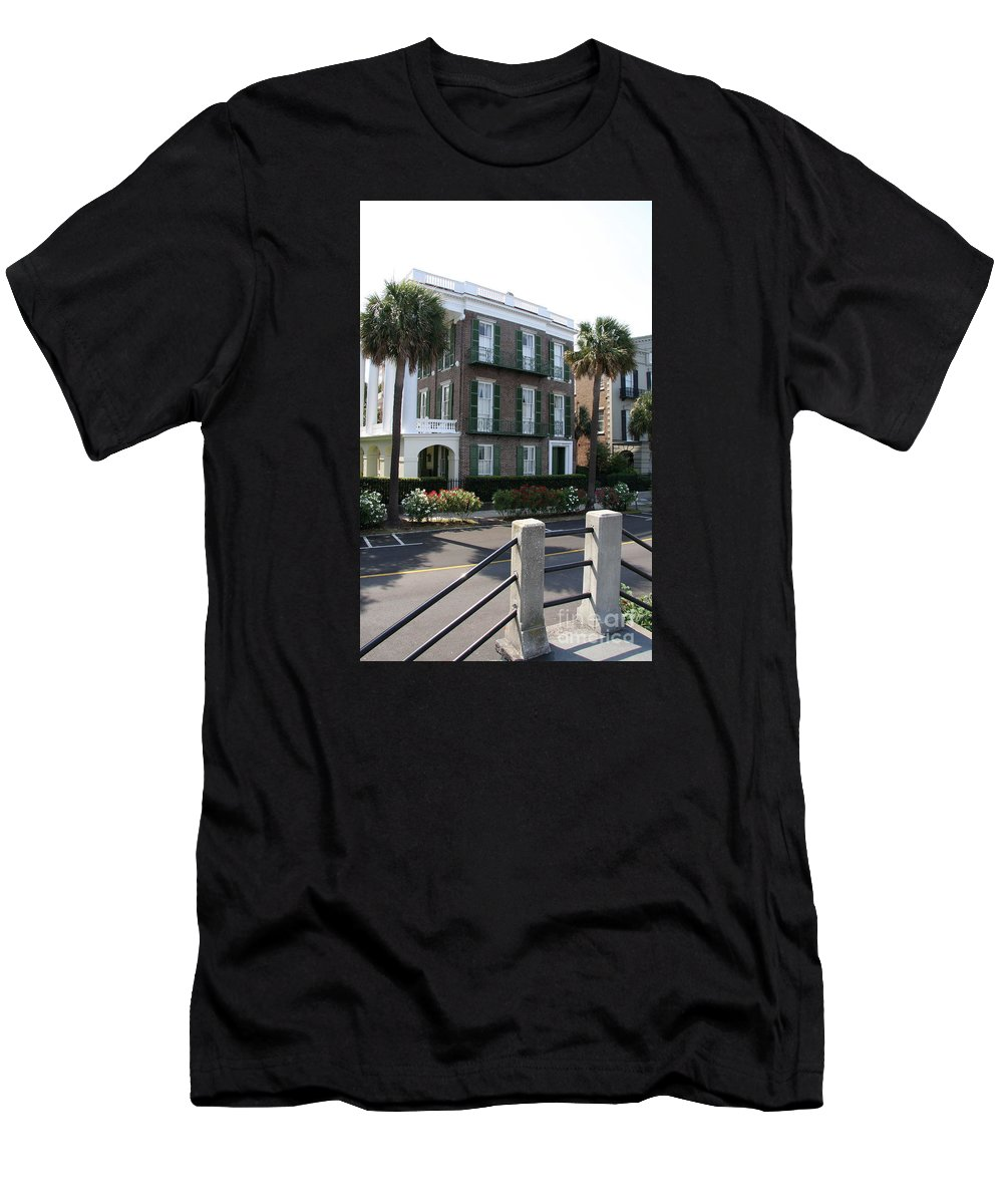 A Historic Home On The Battery Men's T-Shirt (Athletic Fit) featuring the photograph A Historic Home On The Battery - Charleston by Christiane Schulze Art And Photography