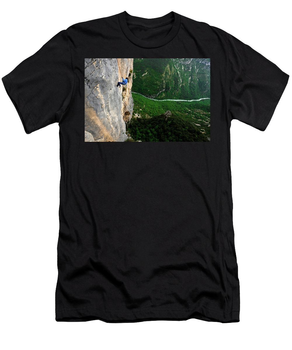 20s Men's T-Shirt (Athletic Fit) featuring the photograph A Horizontal Image Of A Women In A Blue by Keith Ladzinski