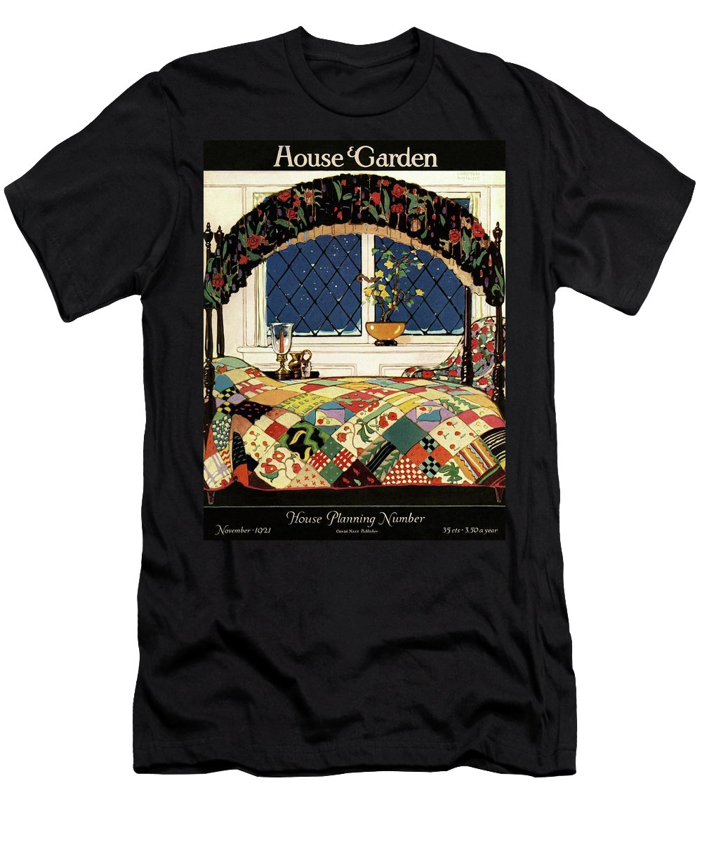 Illustration T-Shirt featuring the photograph A House And Garden Cover Of A Four-poster Bed by Clayton Knight