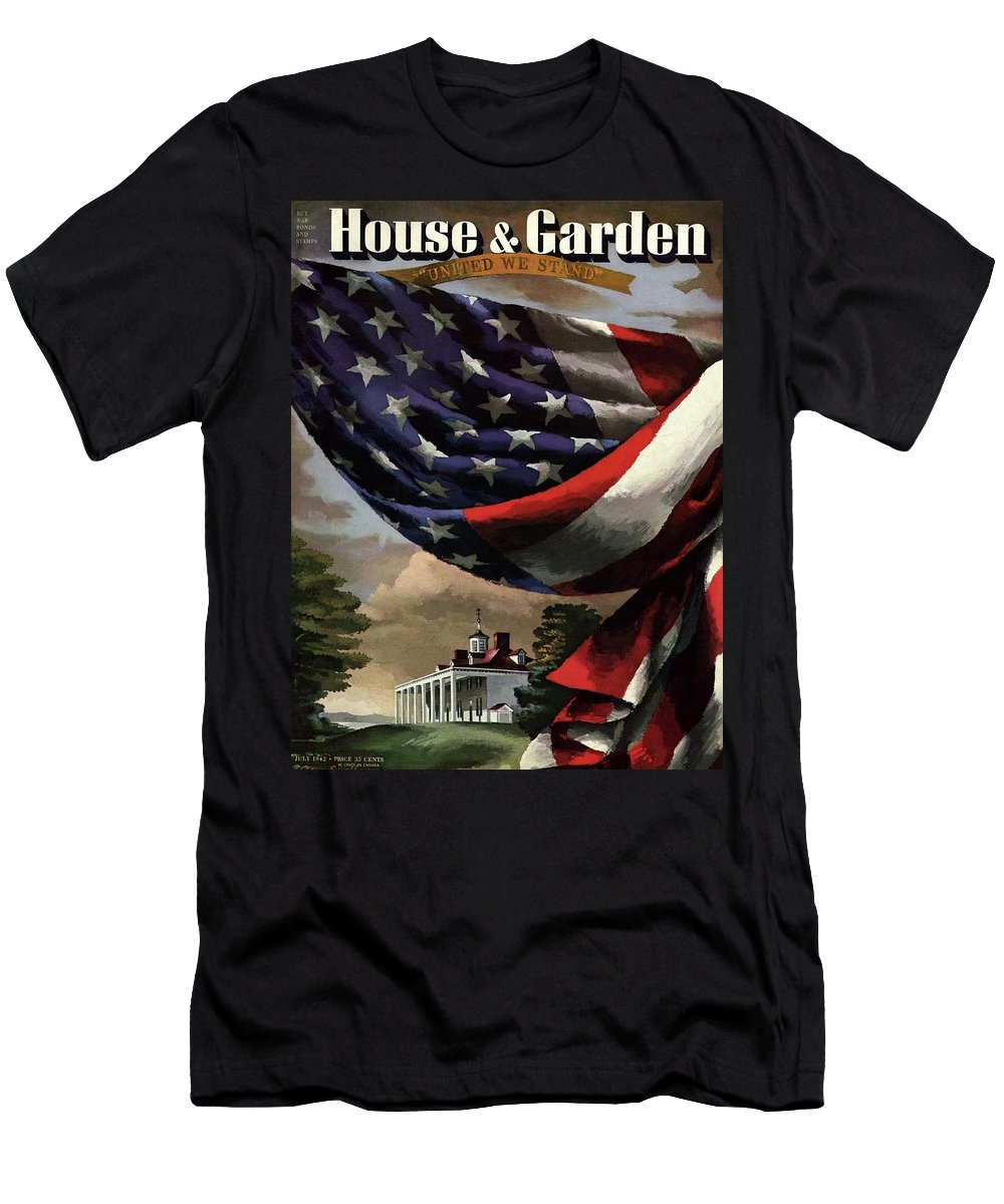 Illustration T-Shirt featuring the photograph A House And Garden Cover Of An American Flag by Allen Saalburg