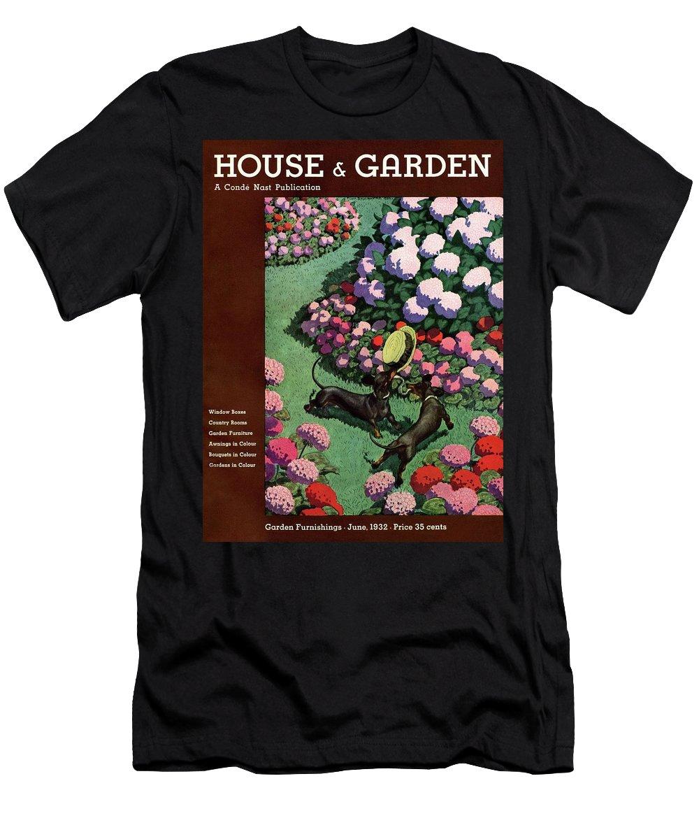 Illustration T-Shirt featuring the photograph A House And Garden Cover Of Dachshunds With A Hat by Pierre Brissaud