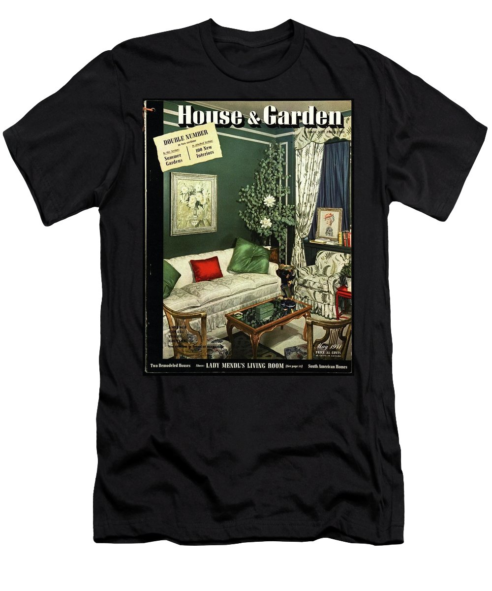 Home Accessories Men's T-Shirt (Athletic Fit) featuring the photograph A House And Garden Cover Of Lady Mendl's Sitting by Urban Weis