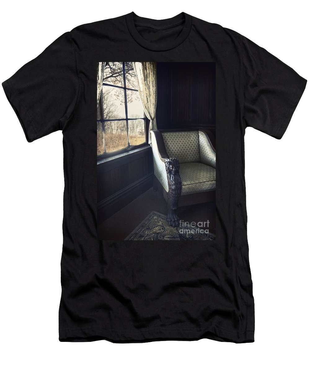 Chair Men's T-Shirt (Athletic Fit) featuring the photograph A Lovely View From The Window by Margie Hurwich