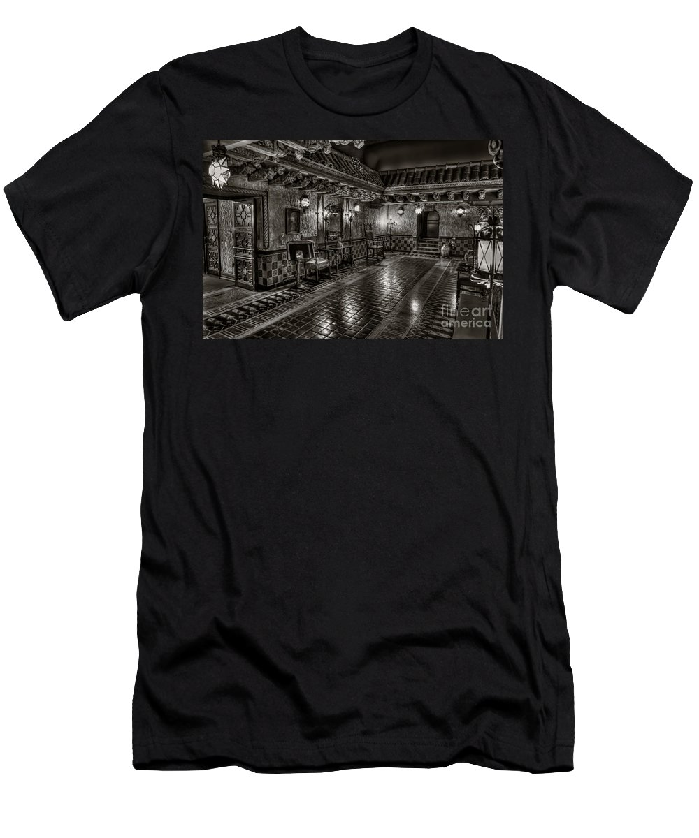 Tampa Theatre Fl Florida John Eberson Romantic Mediterranean Courtyard Franklin St Street Downtown Men's T-Shirt (Athletic Fit) featuring the photograph A Mediterranean Oasis In Downtown Tampa by Karl Greeson