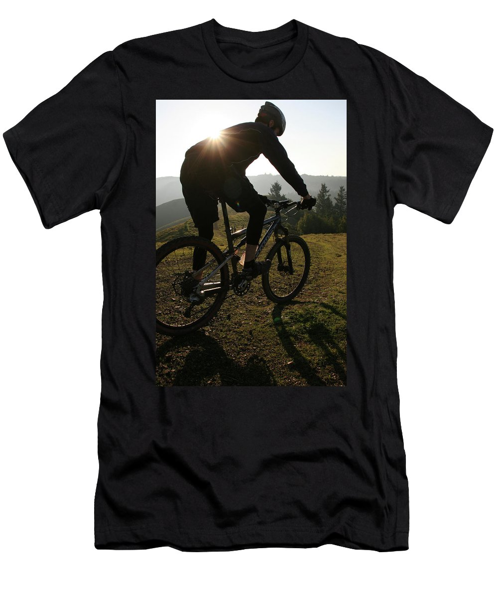 Adventure Men's T-Shirt (Athletic Fit) featuring the photograph A Mountain Biker Makes His Final by Eric Rorer