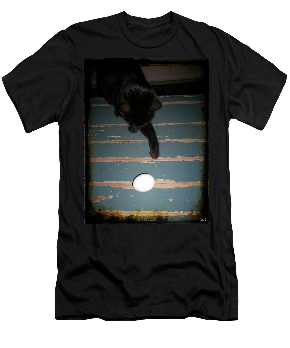 Egg Men's T-Shirt (Athletic Fit) featuring the photograph A New Kind Of Ball? by Absinthe Art By Michelle LeAnn Scott