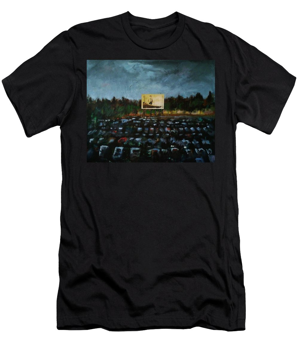 Pop Art Men's T-Shirt (Athletic Fit) featuring the painting A Night At The Drive In by Frances Marino